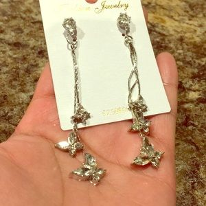 Butterfly crystal earrings new with tag